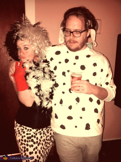 Cruella and one of the 101 Dalmatians Couples Costume