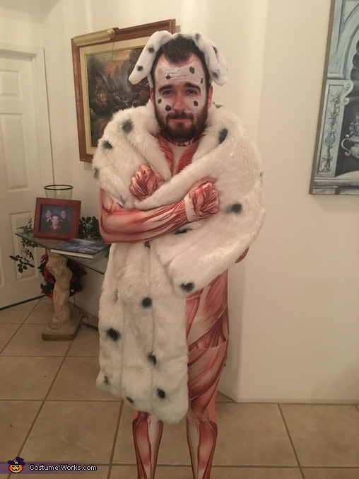 He was cold with no fur :(, Cruella and Skinned Puppy Costume
