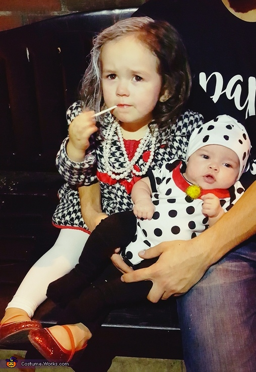 Tired out from trick-or-treating!, Cruella de Vil and Dalmatian Puppy Costume