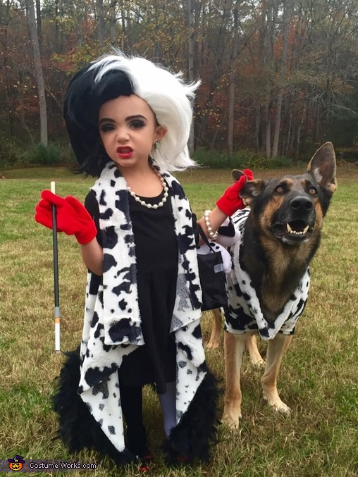 Cruella de Vil and her Terrified Dalmatian Homemade Costume