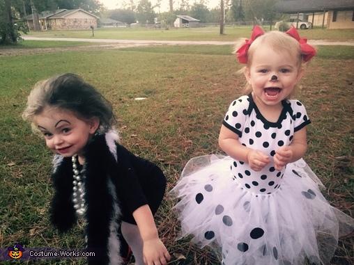 Cruella & Dalmatian Babies Homemade Costume