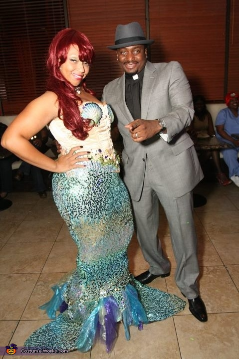 posing with strangers, Curvy Mermaid Costume