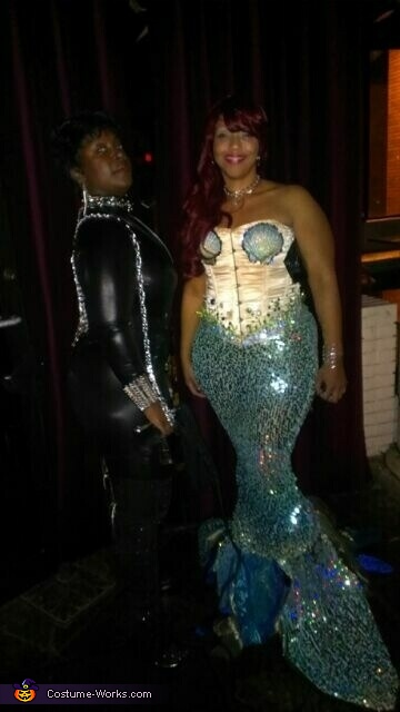 posing with friend, Curvy Mermaid Costume