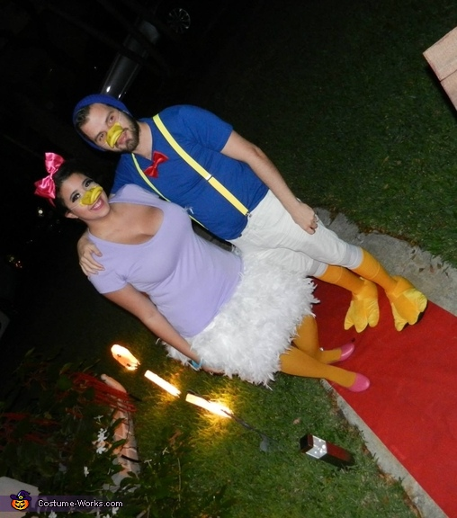 Walking the red carpet at the party, Daisy and Donald Costume