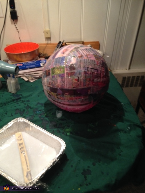 Dome after Paper Mache construction, Dalek from Dr. Who Costume