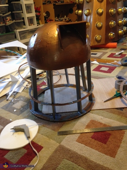 Neck and Stalk during Build, Dalek from Dr. Who Costume