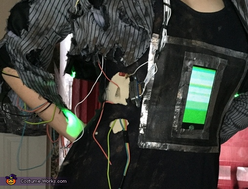 Detail (video screen and loose wires), Damaged Android Costume