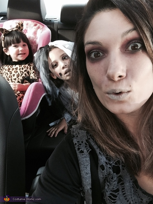 Zombie mom, zombie bride and a fuzzy leopard headed out to a Halloween party!, Day of the Dead Bride Costume