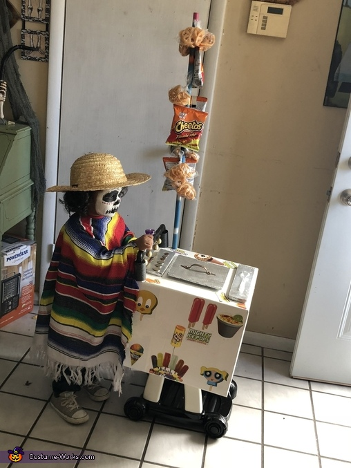 Side view of the cart, Day of the Dead Paletero Man Costume