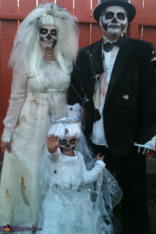 Dead Bride, Groom and Flower Girl Family Costume