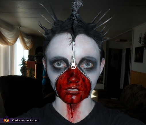 Dead Corpse Zipper Face Costume