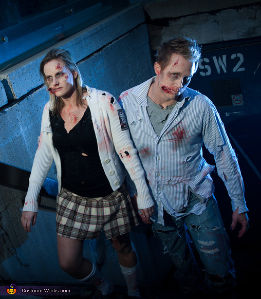 Dead Walking Zombies Couple Costume