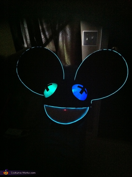 With the lights on! (Can't post video but they flash with music!), Deadmau5 Costume