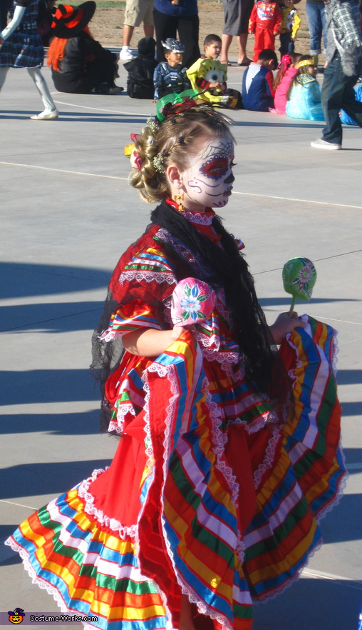 Delilah in Costume walk. La Catrina - Homemade costumes for girls