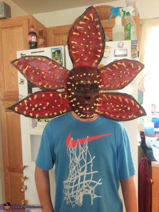 My son modeling it for me, Demogorgon Costume