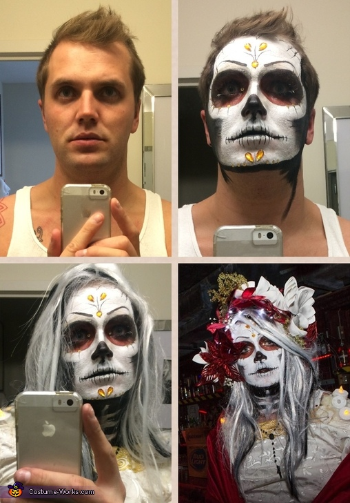 Putting the make-up on, Dia de los Muertos Costume