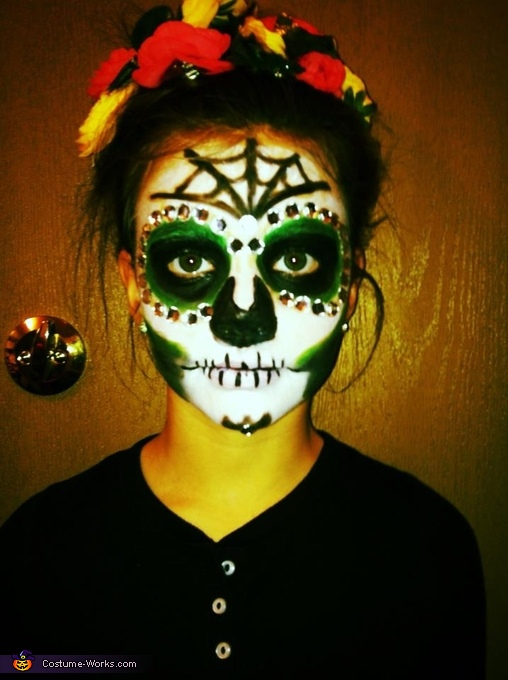 Close up of face, Dia De Los Muertos Sugar Skull Costume