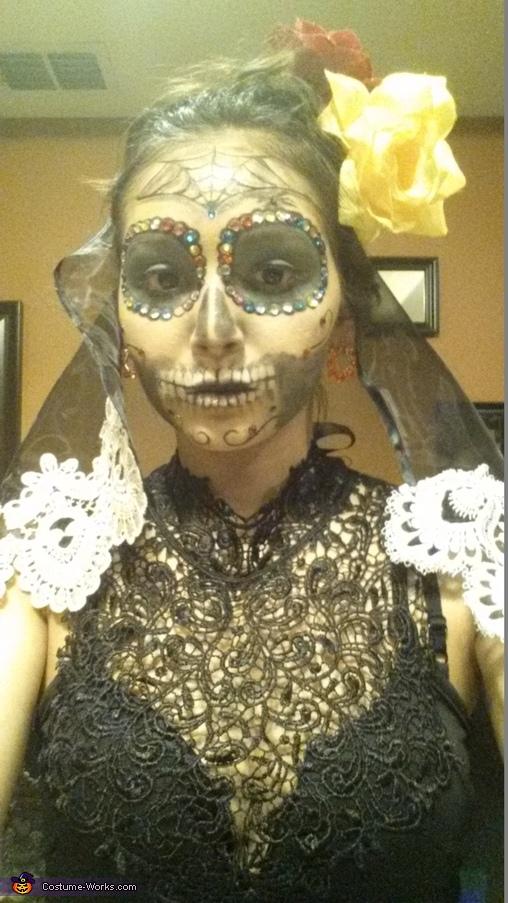 Mexican Bride Sugar skull, Dia de los Muertos Sugar Skulls Costume