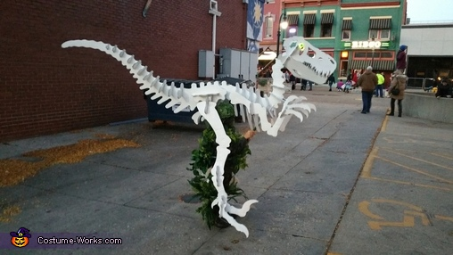"Lurking with glowing eyes, ""Dino Bones"" T-Rex Skeleton Costume"