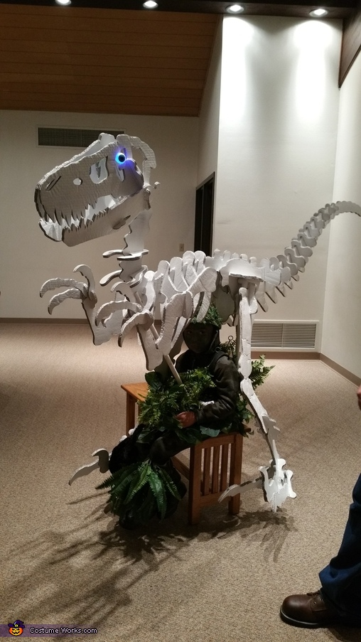 "Sitting in the costume, ""Dino Bones"" T-Rex Skeleton Costume"
