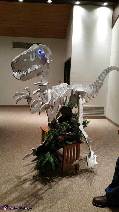 "Sitting in the costume, ""Dino Bones"" T-Rex Skeleton Costume"