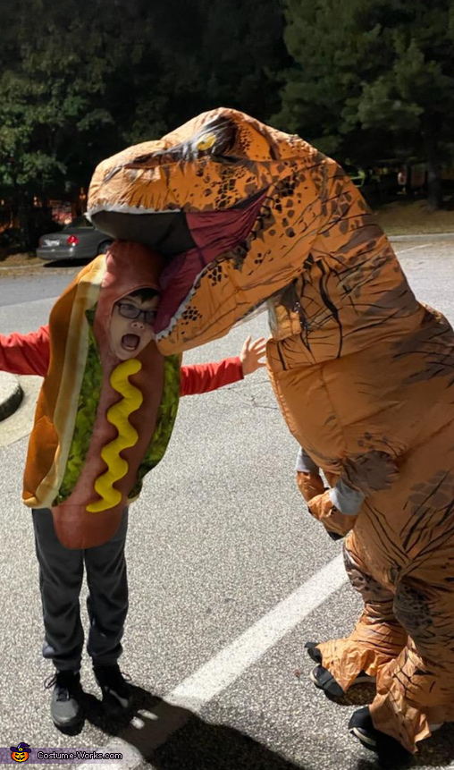 Dino eating his Hotdog Costume