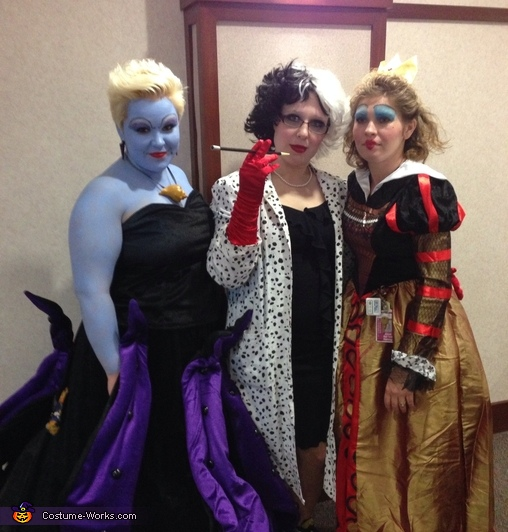 ursula cruella and the queen of hearts disney villains group costume