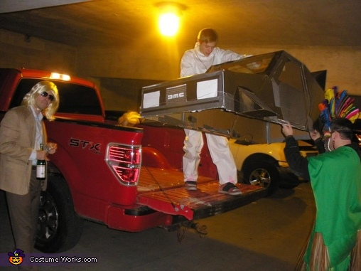 unloading the delorean , Doc Brown and The Delorean Costume