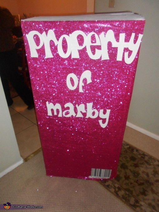 Back of the box 'Property of Marby', Doll Box Costume