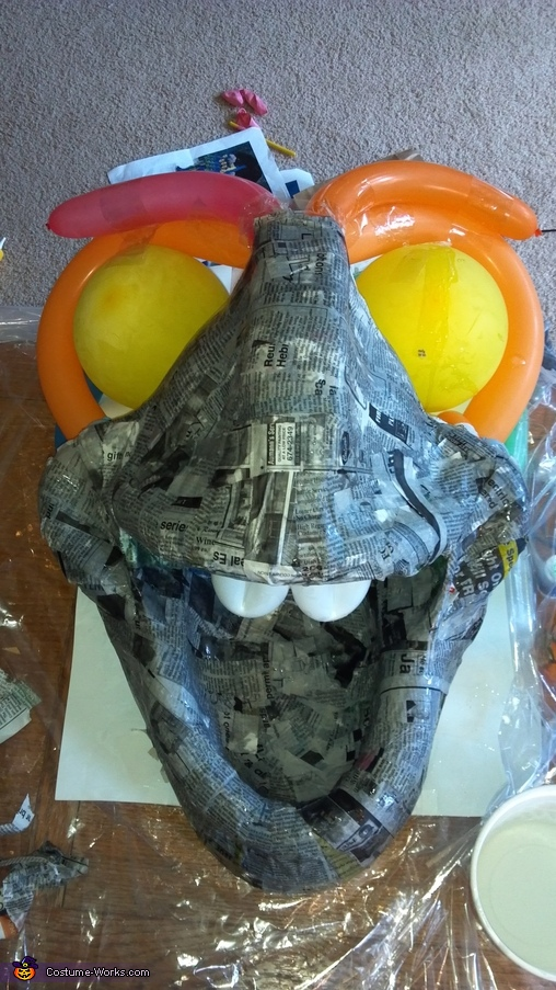 Making of Dory- Step 2: Paper Mache, Dory Costume