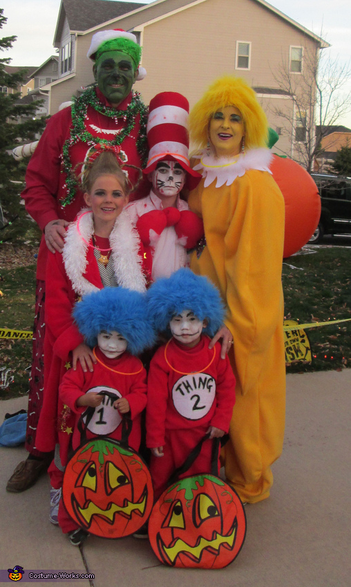 Grinch, Star Bellied Sneetch, Cat in the Hat (scary one!), Cindy Lou Who, and Thing 1 & Thing 2!, Dr. Seuss Characters Family Costume