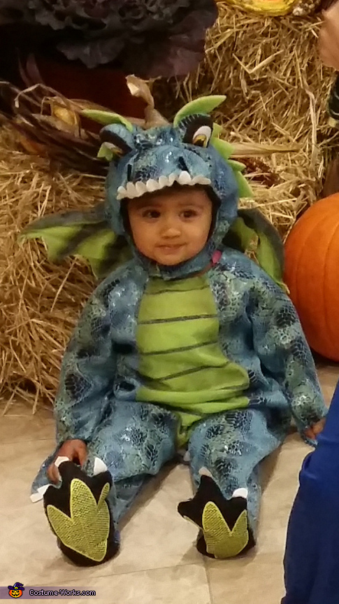 'Scary dragon' taking a break in a 'pumpkin patch', Dragon Baby Costume