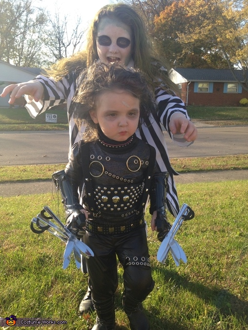Scout and her sister, Beetlejuice, Edward Scissorhands Costume