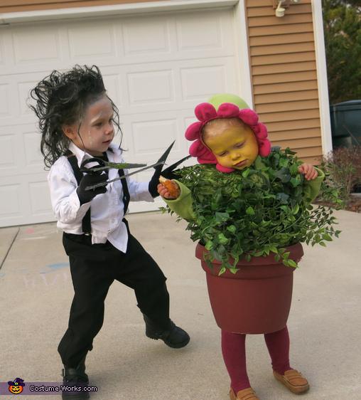 Edward Scissorhands and a Flower Pot Costume