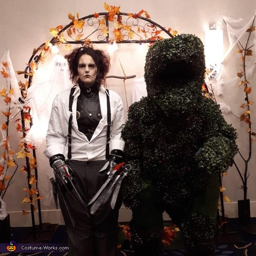 Edward Scissorhands and T-Rex Shrub Costume