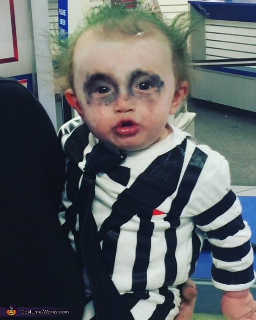 Jaxon as beetle juice, Edward Scissorhands Costume