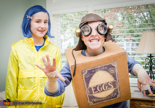 Brandon as Eggs, and his sister Alison as Coraline (both characters from Laika Studios films!) , Eggs from the Boxtrolls Costume