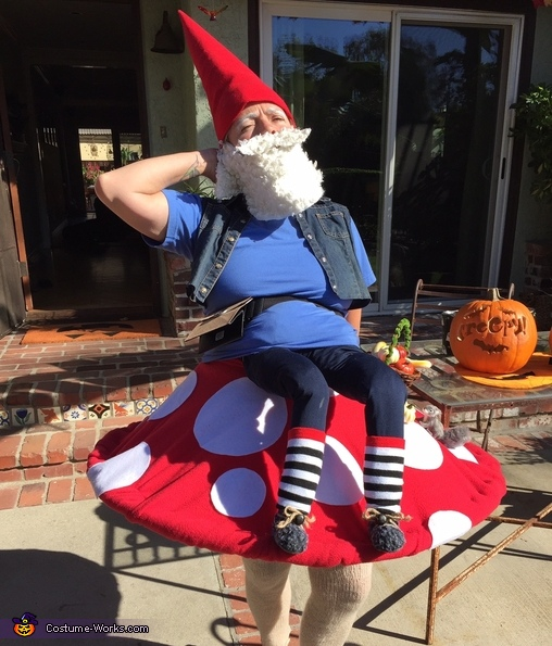 Elias the Gnome Rests on a Mushroom Homemade Costume