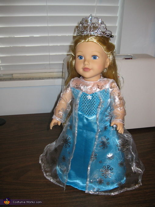 18 inch doll in her Elsa dress, The Elsa sisters from Frozen Costume