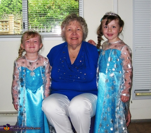 Grandma with her Elsa princesses.  , The Elsa sisters from Frozen Costume