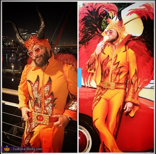 The original to the right and my version to the left., Elton John Rocketman Costume
