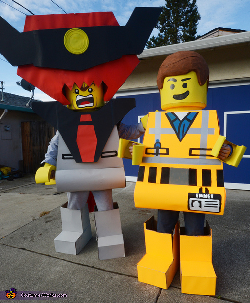 Me and my wife Melanie as Lord Business and Emmet. (My helmet was six foot wide), Everything is Awesome LEGO Family Costume