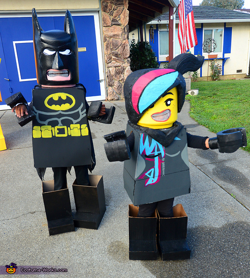 My 11 year-old daughter Madalyn as Batman and 3-year-old Evangeline as Wyldstyle., Everything is Awesome LEGO Family Costume