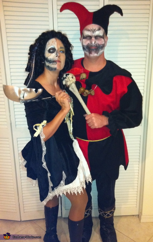 Evil Jester and Lady of Court Couple Costume
