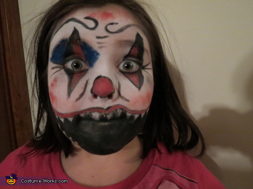 front view without wig, Evil Clown Child Costume
