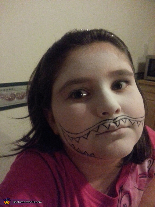 showing the mouth outline, Evil Clown Child Costume