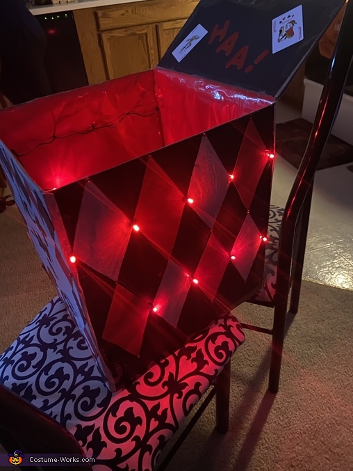Lights I added to the box, Evil Jack in a Box Costume