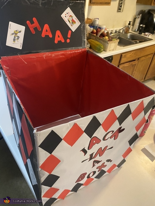 Close up of my box as I was making it, Evil Jack in a Box Costume