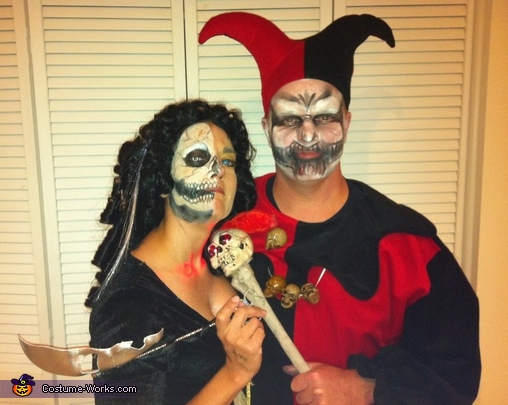 Evil Jester and Lady of Court Halloween Costumes