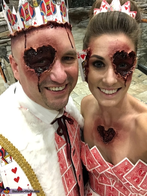 Close up of Special Effects make up, Evil King and Queen of Hearts Costume